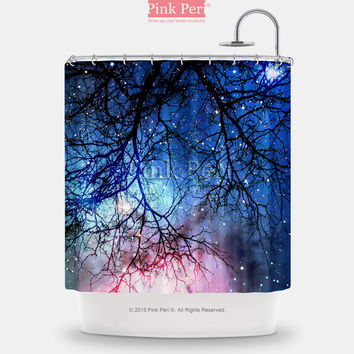 Woods Reflection on Nebula Galaxy Shower Curtain Home & Living Bathroom 066