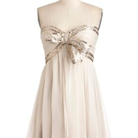 Elegance With a Sparkle Dress in Ivory