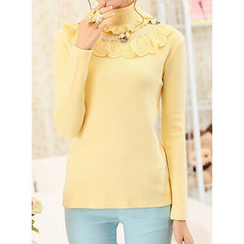 Sweet Turtle Neck Beading Embellished Lacework Spliced Long Sleeve Sweater For Women
