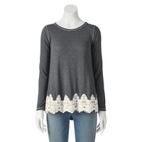 Rewind Juniors' Lace Trim Long-Sleeve Tee, Size: