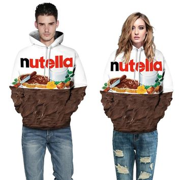 Sweatshirts Female Hoodie 3D Print Nutella Plus Size Sweatshirt Hoodies Women Long Sleeves Letter Hoody Hooded Sweatshirt