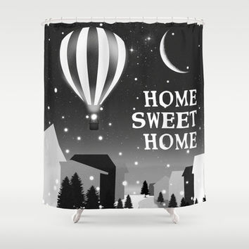 Hot Air Balloon Home Sweet Home snowy little town night stars and moon home decor Christmas spirit Shower Curtain by Bad English Cat
