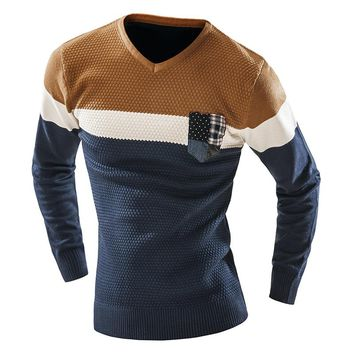Men's Sweater V Neck Pullover Men Long Sleeve Basic Sweaters Casual Brand Knitwear Male Patchwork Sweaters Man Pull Homme F1