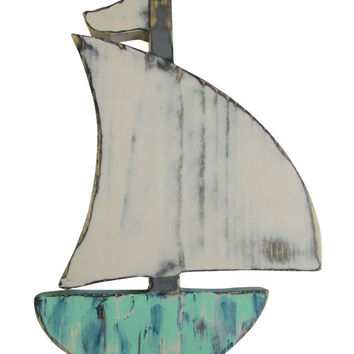 Sailboat in Multi Color Paint technique Wall Decor Nursery Decor Nautical Decor Beach Coastal Wall Hanging Wooden Sailboat