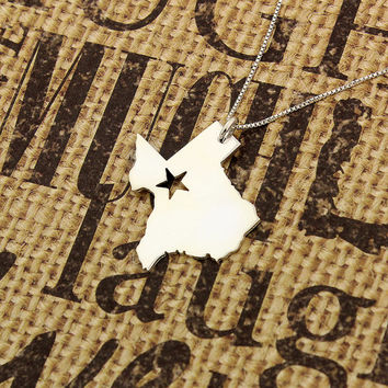 Texas necklace sterling silver Texas state necklace Dallas with Star comes with Box chain (org 2)