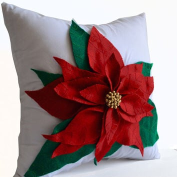 Poinsettia Decorative Throw Pillow Cover Red Felt On White Cotton Cushion Christmas Pillowcase Gift Christmas Decor Available in all Sizes