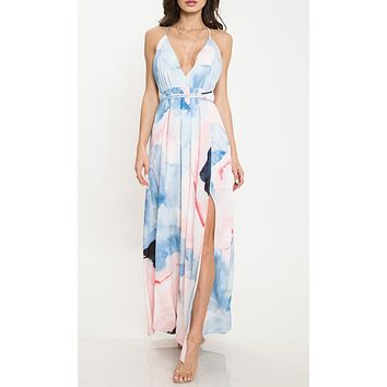 Wonderful Love Blue Geometric Pattern Sleeveless Spaghetti Strap V Neck Backless Casual Maxi Dress (Pre-Order)