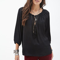 FOREVER 21 Self-Tie Peasant Top