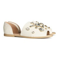 H&M - Sandals with Rhinestones - White - Ladies