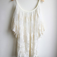 White Off-Shoulder Sheer Lace Dress