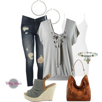 Set 477: Sage Lace Up Top (includes top, tank & jewelry)