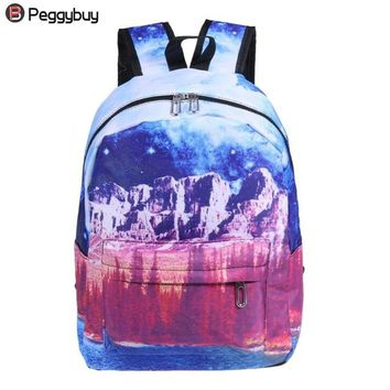 Student Backpack Children 3D Printed Women Canvas Fashion Students Backpack Teenage Girls Big Capacity Shoulder Bags College Students Portable School Bag AT_49_3