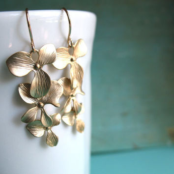 Items similar to Gold Orchid Earrings -Trio Cascade Flower Earrings Brides Maid of Honor Bridesmaids Bridal Best Friend Wedding Gift Special Fall Earrings on Etsy