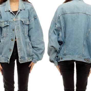 80s Denim Jacket Vintage Jean GUESS Faded Oversized Grunge Button Up 1980s Indie Hipster Crop Short Collared Women Collar Coat Medium Large