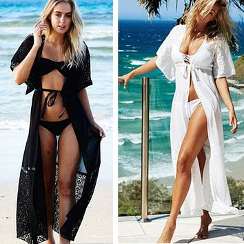 Crochet See Through Black White Swimwear Swimsuit Bathing Suit Cover Up