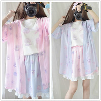 PA99752 Blue/pink The Daughter of The Sea Kimono