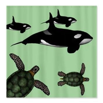 Turtles and orcas on green background Shower Curta> Wild Animal Print Shower Curtains> Shower Curtains