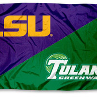 Tulane vs. LSU House Divided 3x5 Flag and Banner