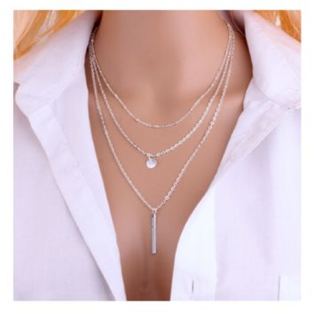 Multilayer Tassels Lariat Bar Necklace For Womens