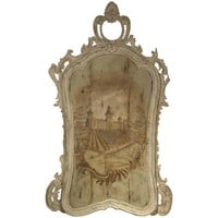 Large Antique Italian Framed Painting of Chateau Cos D'Estournel