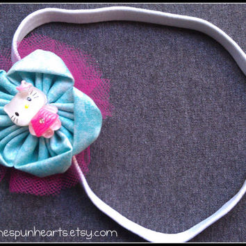 Pink and Blue Kitty Flower Elastic Headband, little girls hair bows, toddler hair accessories, fabric hair bow, flower hair piece