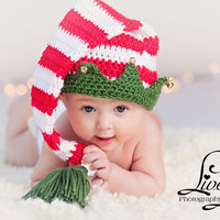 PDF CROCHET PATTERN 025 - Christmas Elf hat with bells - Multiple sizes from newborn through 12 months