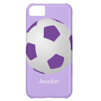 iPhone 5c Case, Soccer Ball, Purple, Personalized iPhone 5C Cover