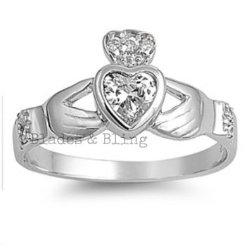 Sterling Silver Clear CZ Irish Claddagh Ring size 5-10