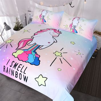 BlessLiving Cute Unicorn Bedding I Smell Rainbow Duvet Cover Purple Yellow Pink Blue Bedspreads Cartoon Bed Set for Kids Girls
