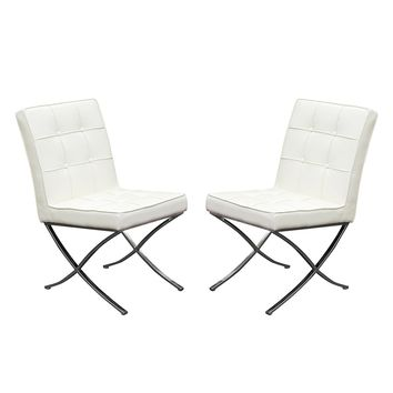Cordoba Tufted Dining Chair, White, Set of 2