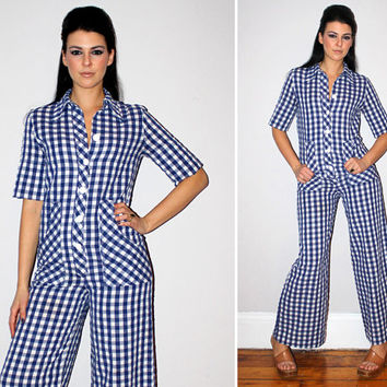 Vintage 70s Nautical Jumpsuit / Navy Blue + White Gingham / Oversized Buttons / Pockets / Americana / Sailor / Onesuit Romper / Small