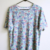 Pastel Floral Top Oversized Shirt Grunge Summer Clothes