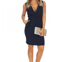 Wrap Tank Dress Navy