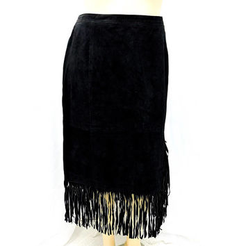 Plus size fringed leather skirt / size 2X / 22 / 80s black leather skirt / western / boho leather fringe skirt / long leather skirt