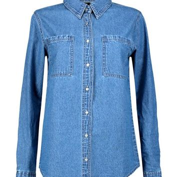 Kate Oversized Pocket Denim Shirt | Boohoo