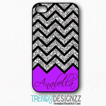 Personalized iPhone4 case, iPhone 4s case, iPhone5 case, iPhone cover, Black Silver Glitter Chevron, Personalized Case (1109)