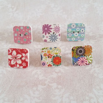 Square Wooden Button Decorative Multi Patterned Thumbtacks - Pushpins for Memo Boards, Cubicle Decor, Dorm Decor, Teachers Gifts Set of 6