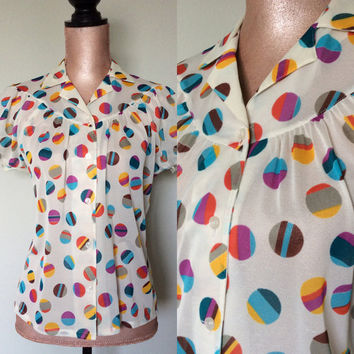 Vintage Judy Bond Blouse Semi Sheer Geometric Polka Dot Shirt Medium