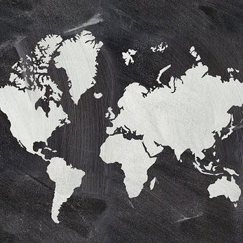 World map print World map poster World map art Chalkboard art Living room decor Home decor print Wall decor Digital print Instant download