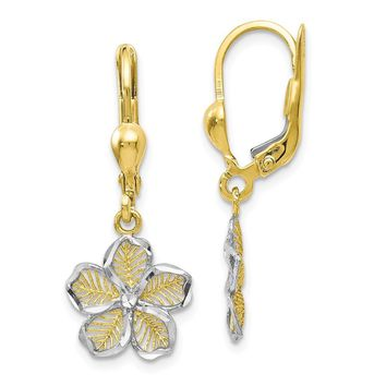 Leslies 10k Rhodium-plated Polished D/C Filigree Flower Leverback Earrings