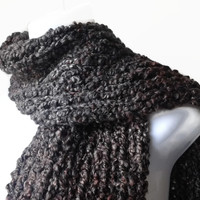 Mocha Brown Charcoal Gray Soft Knit Scarf