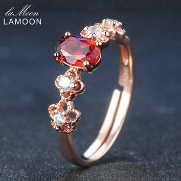 LAMOON 6*4mm 100% Natural Oval Red Garnet Adjustable Rings 925 Sterling Silver Jewelry For Women Wedding LMRI045