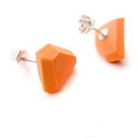 Bright Orange Earrings, Geometric Earrings, Colorful Post Earrings, Small Stud Earrings, Modern Earrings, Asymmetrical Geo Silver Earrings