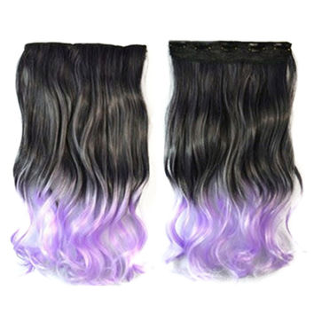 Five Cards Hair Extension Long Curled Hair Wig  4