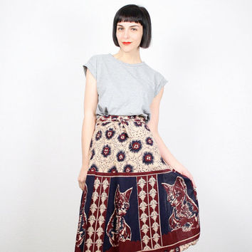 Vintage Hippie Skirt CAT Print Skirt Wrap Skirt Midi Skirt Cats Kitten Print India Skirt Beige Burgundy Navy Boho Festival M Medium L Large