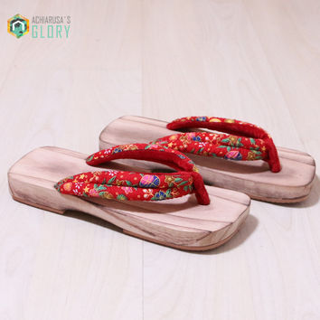 Summer  Flip Flops Woman sandals Japanese Geta candlenut clogs shoes Flat Heel Cosplay costume wooden slippers GTS-833
