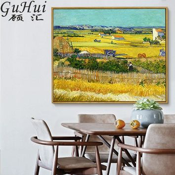 Van Gogh Painting Canvas Printing Peaceful Countryside Landscape Harvest at La Crau Nordic Wall Pictures Home Sofa Murals Decor