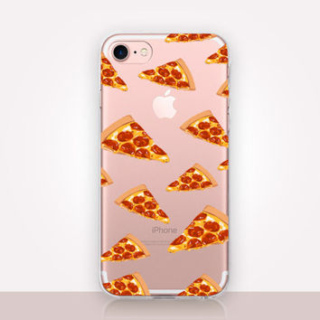 Pizza Clear Phone Case- Transparent Case - Clear Case - Transparent iPhone 7 - Clear iPhone 7 Plus - Gel Case -  iPhone SE