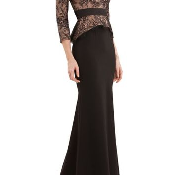 JS Collections Lace & Crepe Peplum Gown | Nordstrom