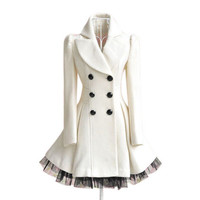 Gorgeous Fashion Ladies Twill Yarn Swing Double-breasted Woolen Coat from dakotan fashion and gadget
